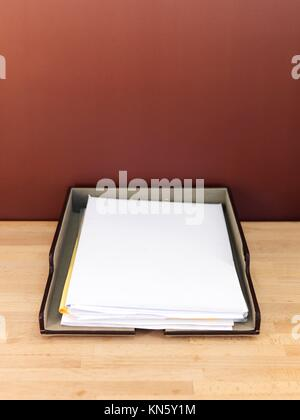 A close up shot of an office work tray. - Stock Photo