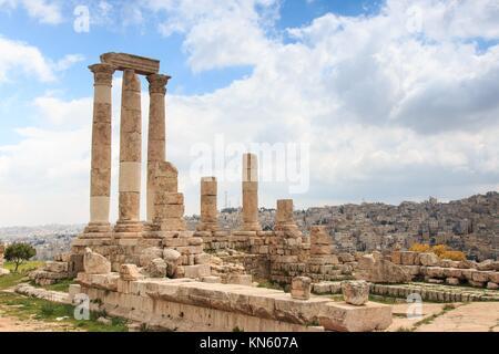 Amman Citadel ruins in Jordan. - Stock Photo