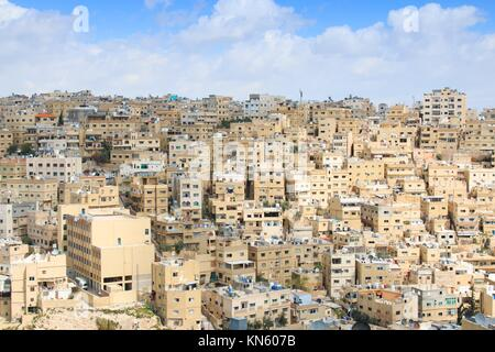 Amman, Jordan: Panoramic view of Amman from one of the hills sorrounding the city. - Stock Photo