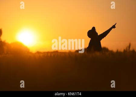 Little Boy Freedom jumping in wheat field at sunset - Stock Photo