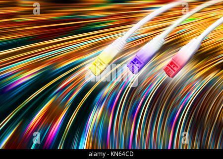 lan calbe and data transmission illustration. - Stock Photo