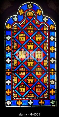 French Monarchy Symbols Fleur de Lile Stained Glass Saint Chapelle Paris France. Saint King Louis 9th created Sainte - Stock Photo
