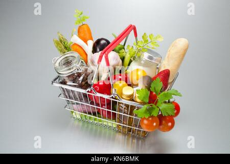 shopping cart with food. - Stock Photo