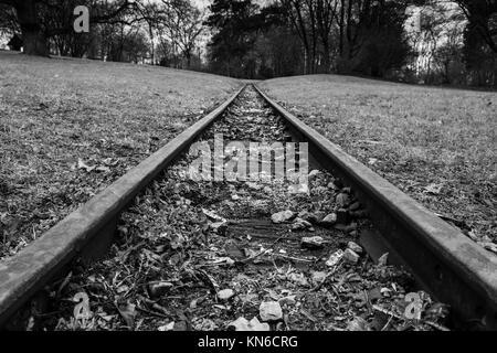 Rail Road Tracks Park Hills Landscape Forest Black White Monochrome Emotional Goal Travel Moving Perspective Closeup - Stock Photo