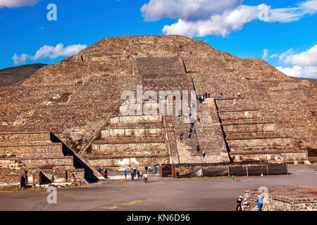 Climbing Temple of Moon Pyramid Teotihuacan Mexico City Mexico. - Stock Photo