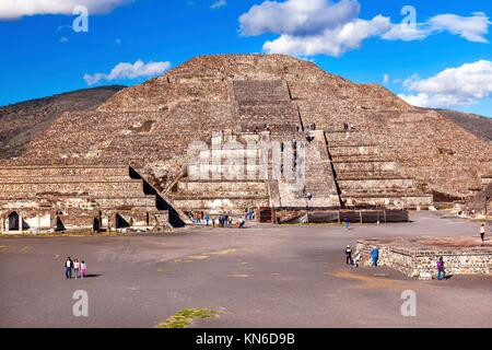 Temple of Moon Pyramid Teotihuacan, Mexico City Mexico. - Stock Photo