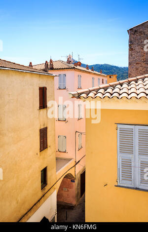 Ille Rousse Old Town Centre, Corsica - Stock Photo