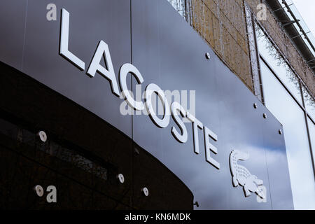 Lacoste Logo at Metzingen Outlet Shopping Complex in Germany, Europe on November 1, 2017 - Stock Photo