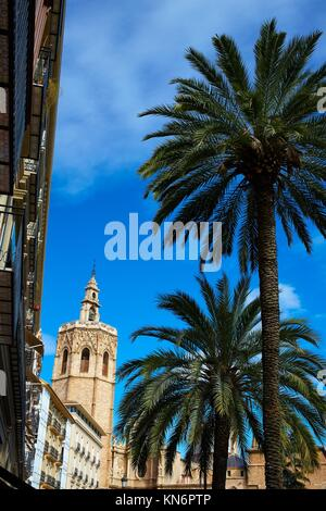 Valencia El Miguelete Micalet in Reina square and Cathedral church. - Stock Photo