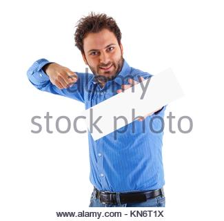 Happy young man showing and displaying placard. - Stock Photo
