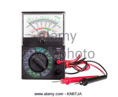 Multimeter with probe isolated on white background. - Stock Photo