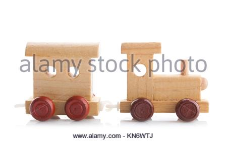 Wooden toy train on white background. Studio photo. - Stock Photo