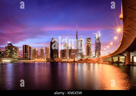 View of Dubai downtown skyline at night Stock Photo