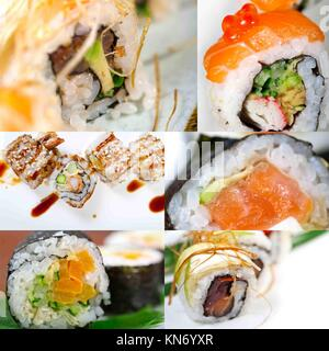 selection of many Japanese sushi dish collage over white frame. - Stock Photo