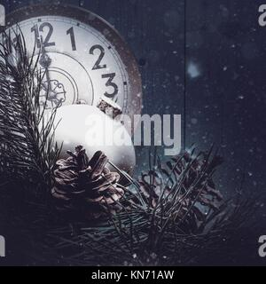 Abstract xmas backgrounds with vintage watches and christmas decorations. - Stock Photo