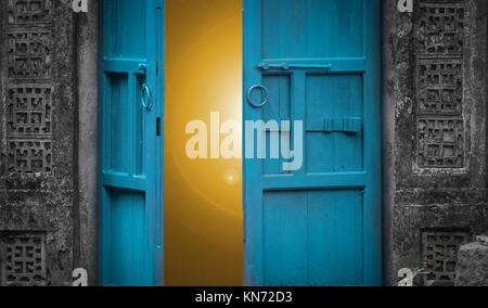 open door with light behind