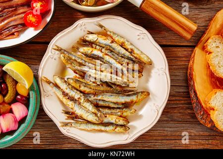 Tapas seafood fried anchovies fish from Spain. - Stock Photo