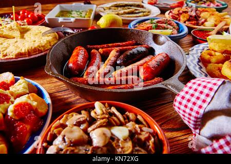 Tapas from spain varied mix of most popular tapa mediterranean food. - Stock Photo