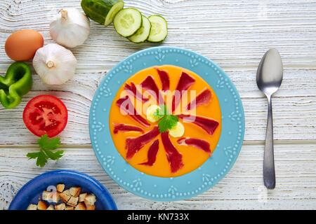 Salmorejo tapas food raw tomato soup from Andalusian Spain. - Stock Photo