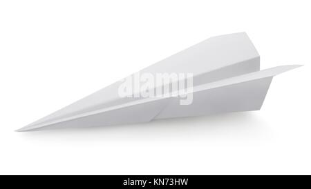 Plane made of a paper isolated on a white background. Clipping Path. - Stock Photo