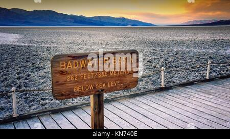 The salt flats in Badwater Basin in Death Valley National Park. Badwater Basin in the lowest point in North America - Stock Photo