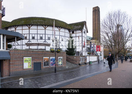 The reconstruction of William Shakespeare's Globe Theatre, situated on the South Bank of the River Thames in the - Stock Photo