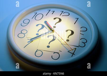 Question marks on clock. - Stock Photo