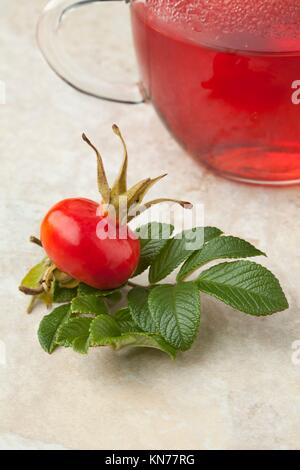 Glass of rose hip tea and a fresh rose hip. - Stock Photo