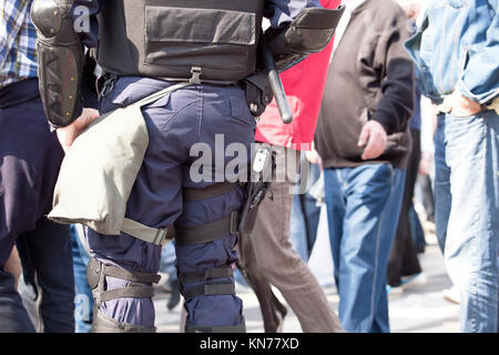 Police on duty during a street protest - Stock Photo