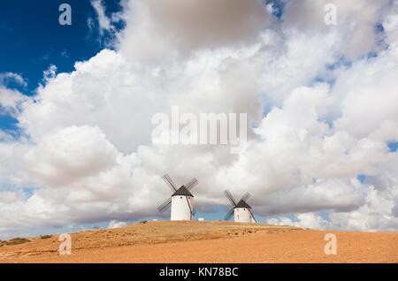 Windmills in Tembleque, Ciudad Real province, Castilla la Mancha, Spain. - Stock Photo