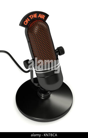 3d render of vintage microphone over white background - Stock Photo