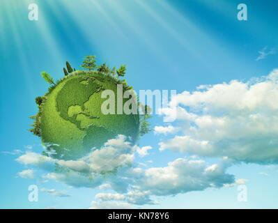 Green planet. Abstract eco backgrounds with blue skies, clouds and Earth globe. - Stock Photo
