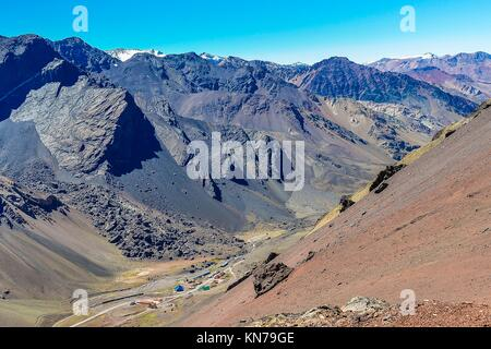 View of a valley in the Andes around Mendoza, Argentina. - Stock Photo