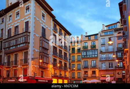 Pamplona Navarra Ayuntamiento city Hall square way of Saint James. - Stock Photo