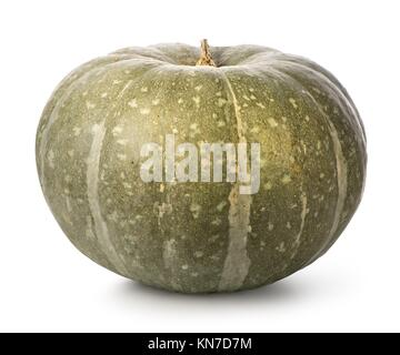Green pumpkin isolated on a white background. - Stock Photo