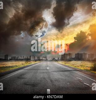 Road and the moon. Elements of this image furnished by NASA. - Stock Photo