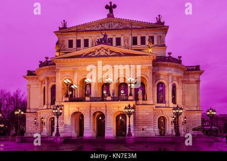 Old Opera in Frankfurt at night, Frankfurt Main, Hessen, Germany, Europe. - Stock Photo
