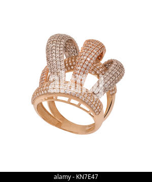 diamond ring with diamonds - Stock Photo