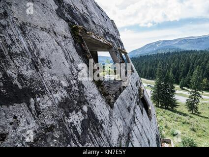 Hotel building damaged during Siege of Sarajevo near Igman Olympic Jumps in Bosnia and Herzegovina. - Stock Photo