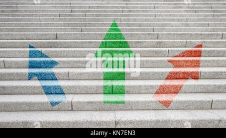 Three arrows pointing up. Symbol of direction, development and business progress. - Stock Photo