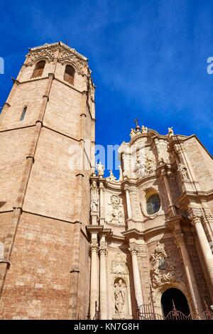 Valencia Cathedral and Miguelete tower Micalet in Spain. - Stock Photo