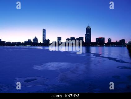 Boston's Back Bay and Charles River seen at dawn. - Stock Photo
