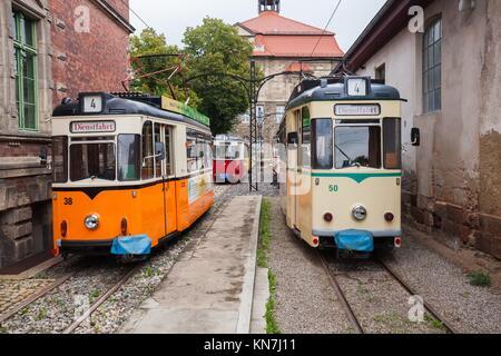Vintage trolleys / streetcars / tram cars in Naumburg (Saale), Saxony-Anhalt, Germany. - Stock Photo