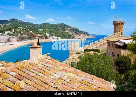 Tossa de Mar castle in Costa Brava of Catalonia Spain. - Stock Photo