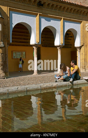 Great Mosque, Patio de los Naranjos - tourists by the pond, Cordoba, Region of Andalusia, Spain, Europe - Stock Photo