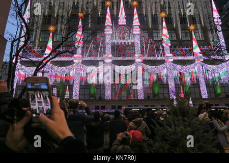 Saks Fifth Avenue's Holiday Light and Sound Display, NYC, USA - Stock Photo