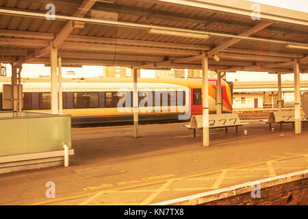 South West Train Standing At Clapham Junction Railway Station South London United Kingdom - Stock Photo