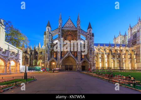 London, NOV 13: Night view of the AWestminster Abbey with Veteran's day on NOV 13, 2015 at London, United Kingdom - Stock Photo