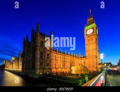 London, NOV 13: Night view of the famous Big Ben on NOV 13, 2015 at London, United Kingdom - Stock Photo