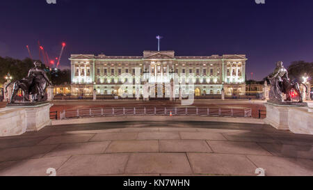 London, NOV 13: Night view of the famous Buckingham Palace on NOV 13, 2015 at London, United Kingdom - Stock Photo